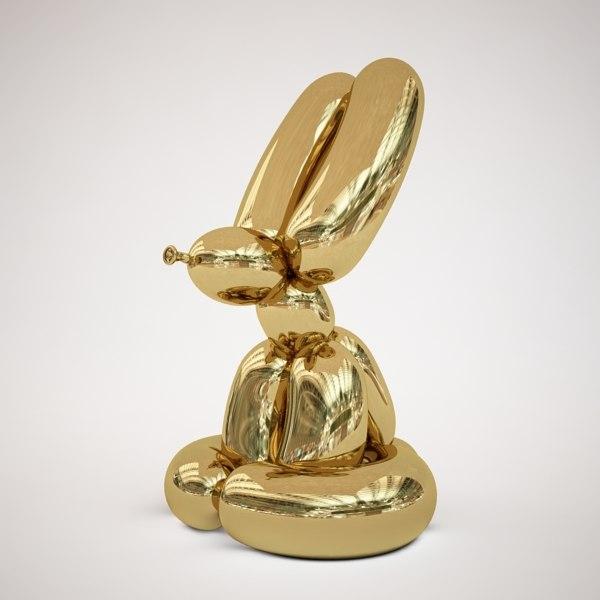 Conejo dorado escultura de acero de Jeff Koons