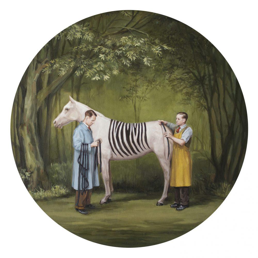 एक ज़ेबरा पेंटिंग दो कलाकार