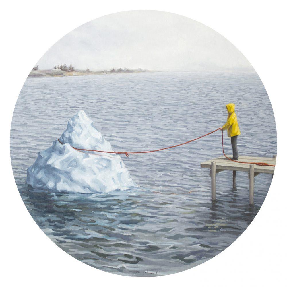 एक हिमशैल पर रस्सी के साथ छोटी लड़की