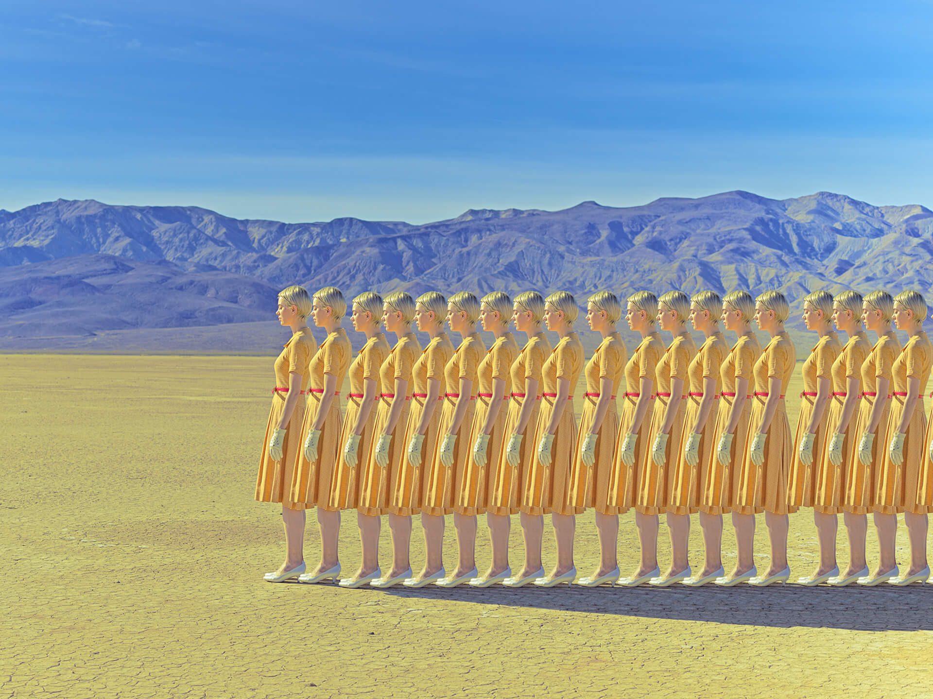 Ακολουθία μοντέλου με κίτρινο φόρεμα
