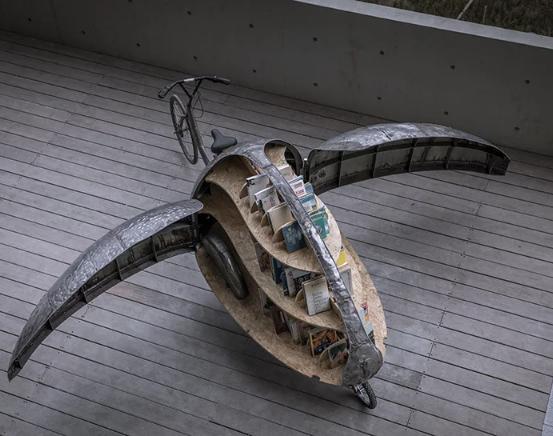 Vista superior de biblioteca movil Lady Bird