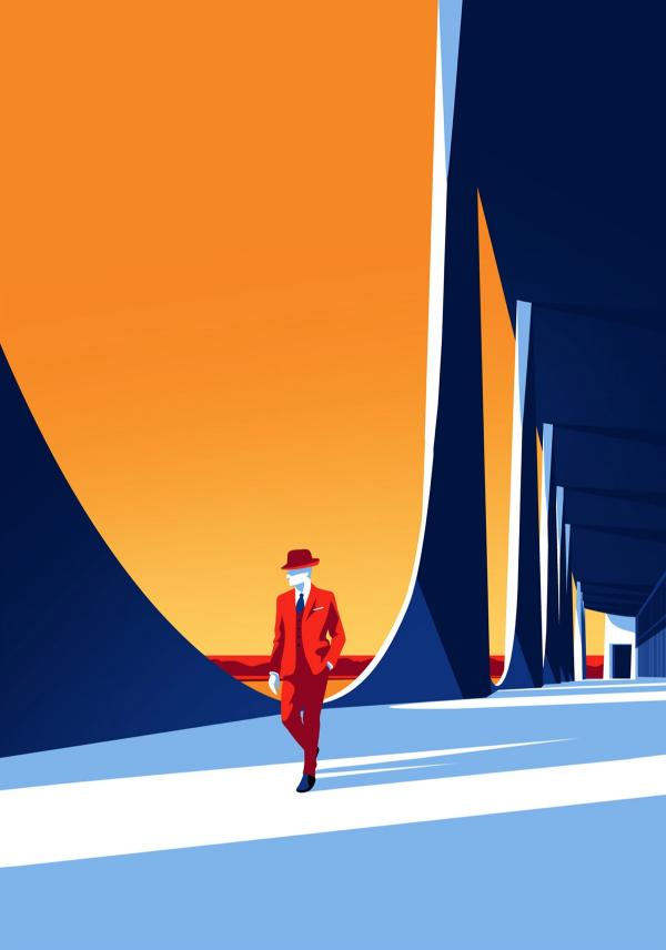 Ilustracion hombre caminando en un palacio