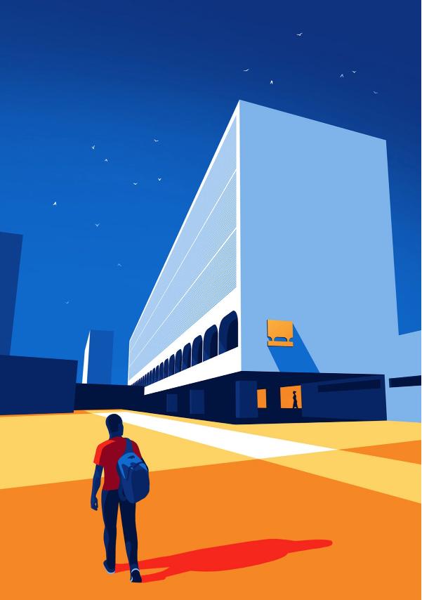 Ilustracion de estudiante caminando en la biblioteca