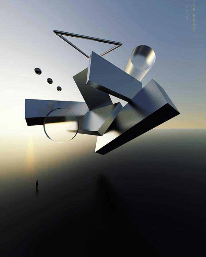 ilustración digital con figuras geométricas flotantes