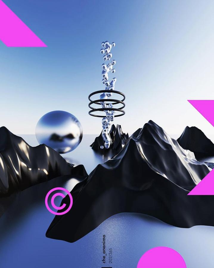 ilustración 3D de montañas flotantes negras y un espiral flotante