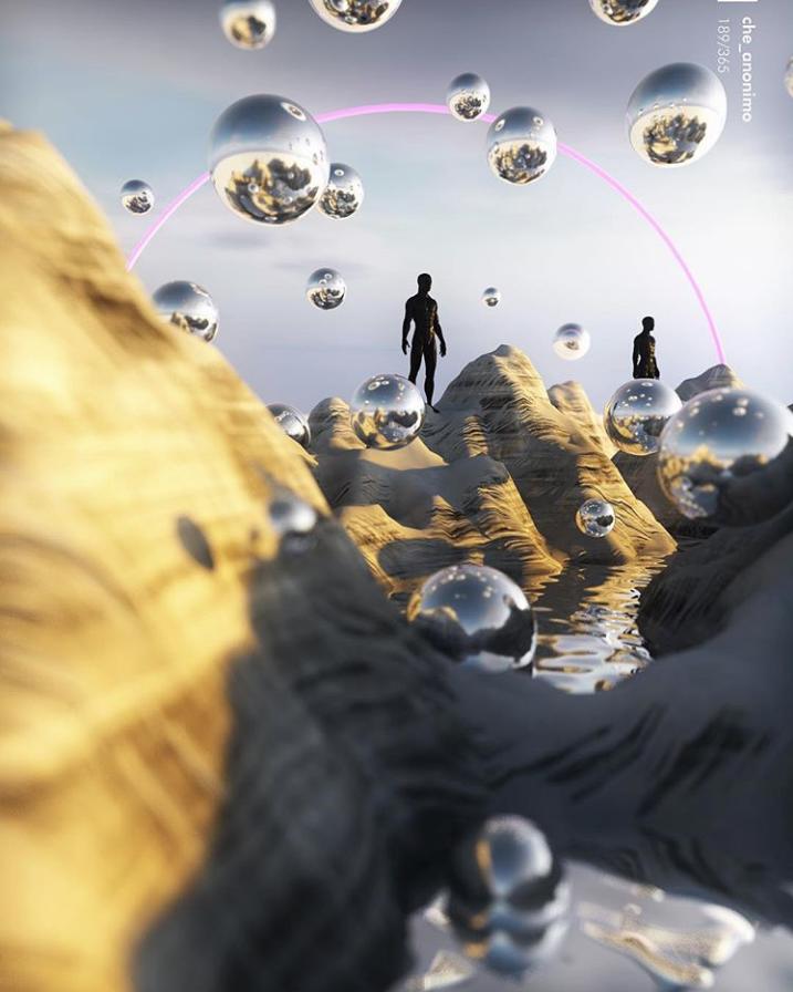 Ilustración digital esferas de metal flotando entre montañas