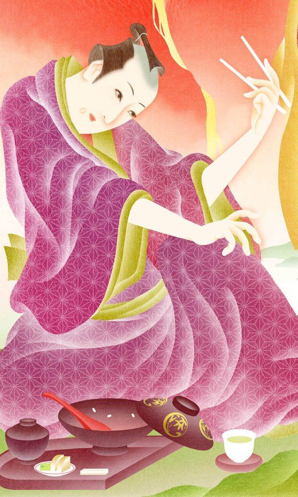 Ilustracion de hombre japones danzando