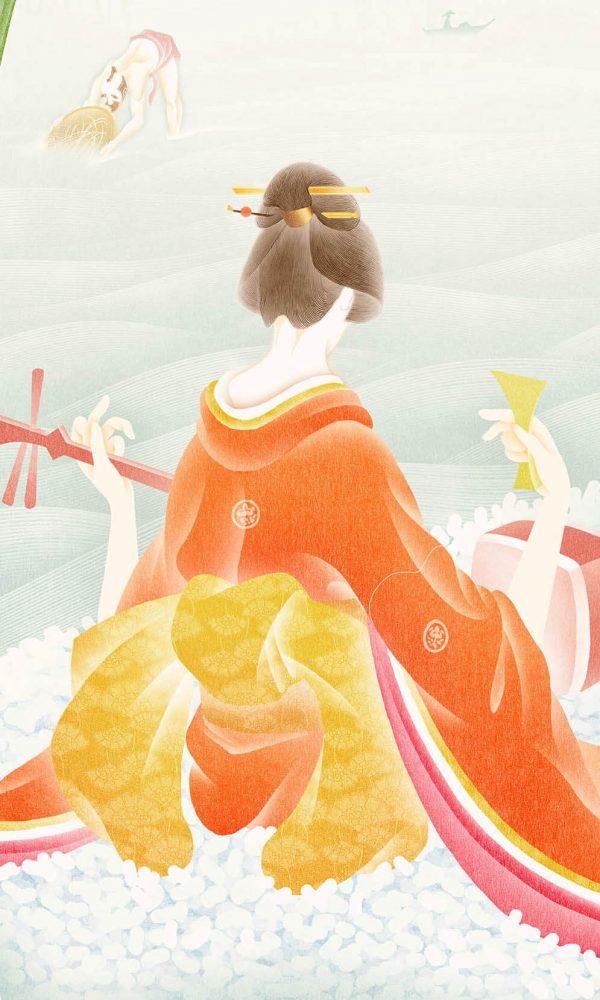 Ilustracion de geisha tocando el banjo
