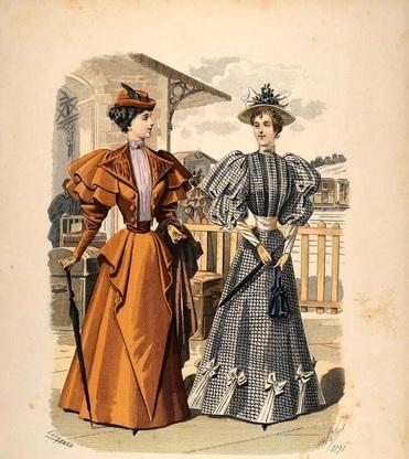 Mujeres con bolsos era isabelina