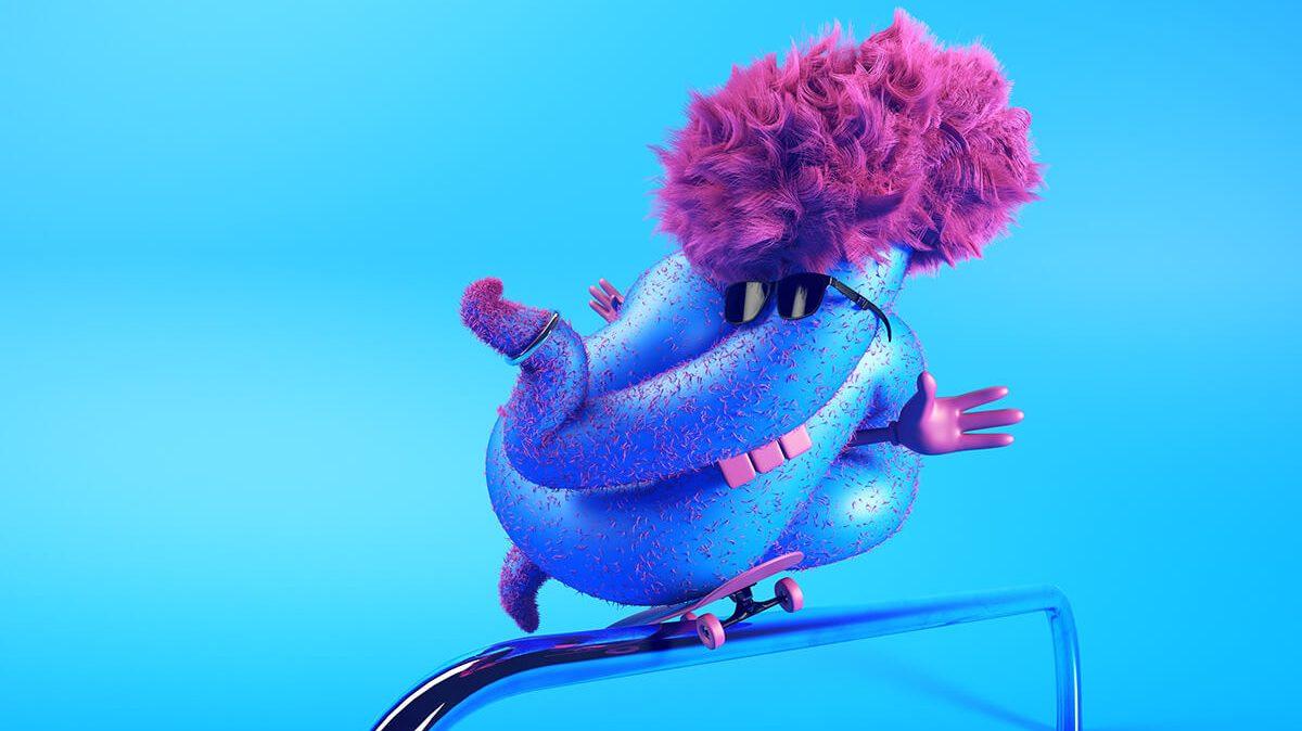 Illustratie van een blauw monster door Edgar Ripa