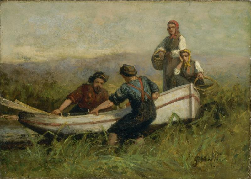 Pintura de barco y personas de Edward Mitchell