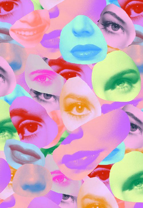 Collage av øyne og lepper av Tyler Spangler