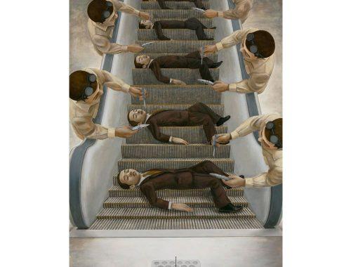 Ζωγραφική ονομάτων σε ηλεκτρικές σκάλες