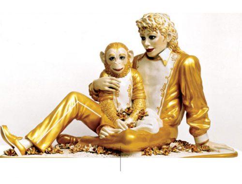 Scultura di Michael Jackson con Bubbles di Koons