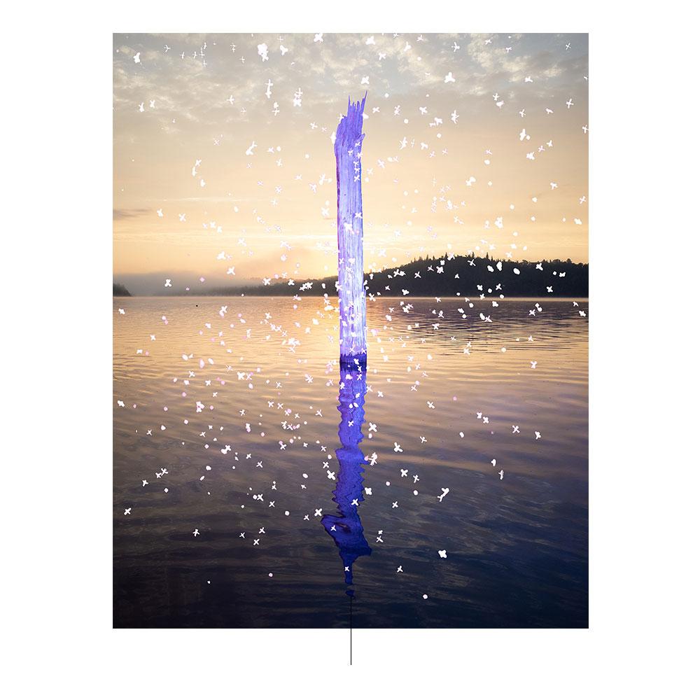 Μωβ post στη μέση του νερού