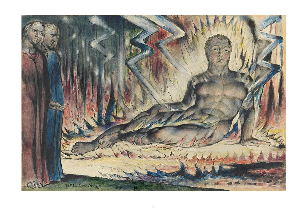 Dante en el infierno de la Divina Comedia