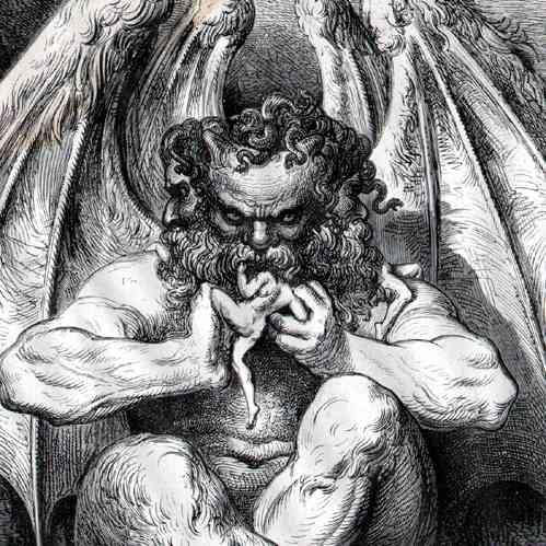 لوسيفر يأكل يهوذا في الكوميديا الإلهية