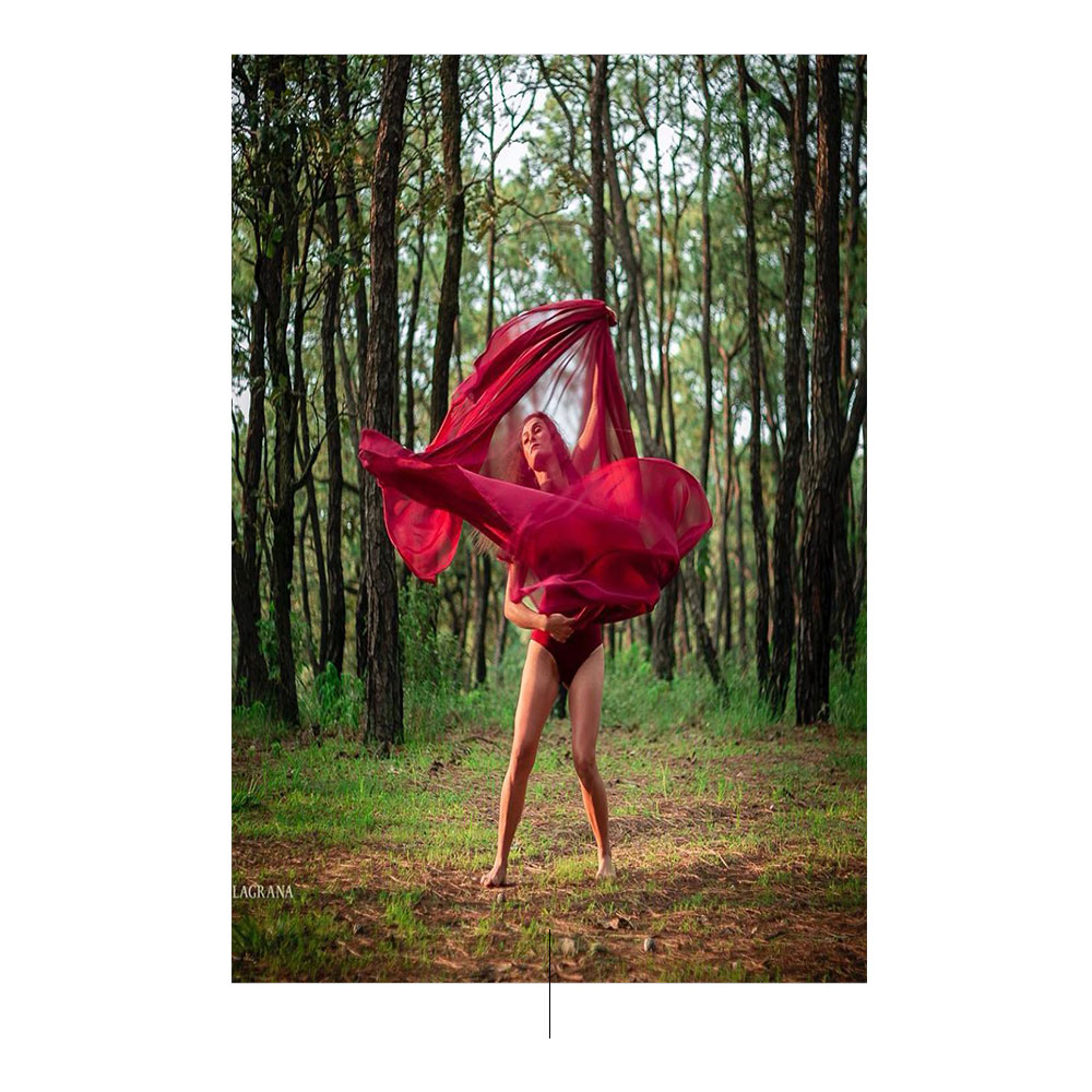 女人服装红色森林自然