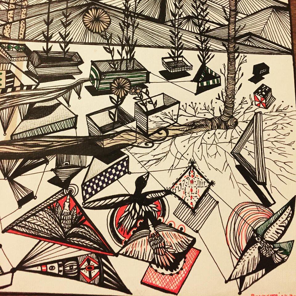 빨간 색조가있는 Rommy Triay 삽화
