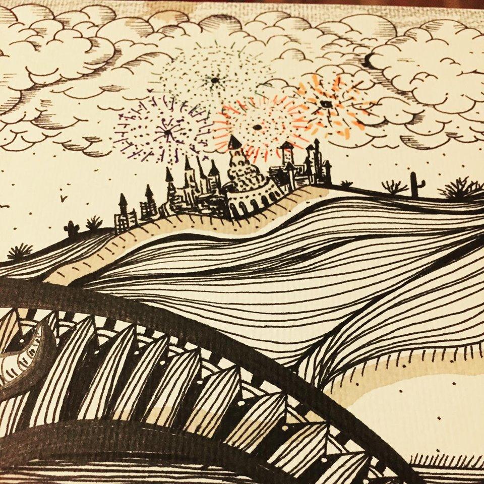 성 및 하늘 일러스트 레이터 로미 Triay