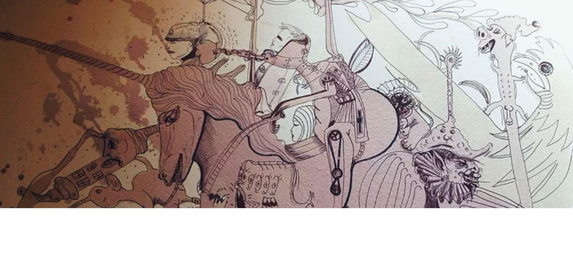 tekening van een rijder omringd door vele karikatuurkarakters