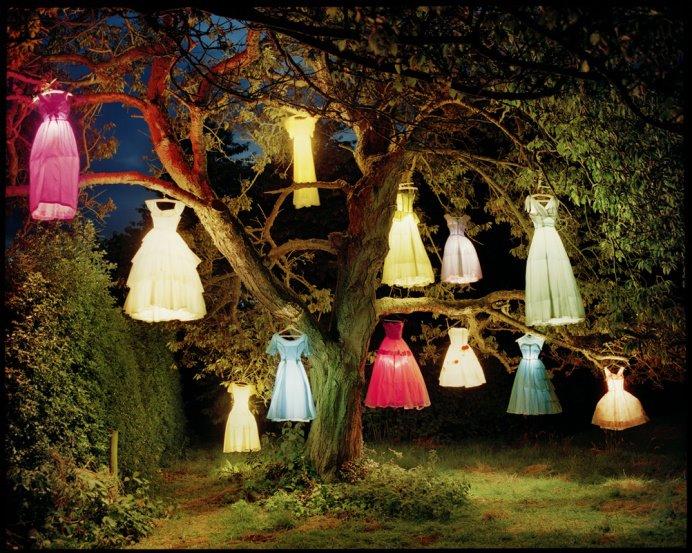 टिम वॉकर के शो में कपड़े, रोशनी और एक पेड़