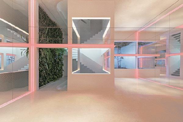 Iluminación en jardín de espejos