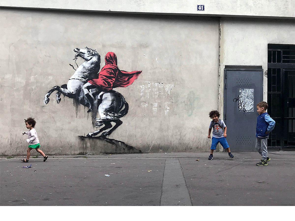 Las escenas desalentadoras son una constante en la obra de Banksy