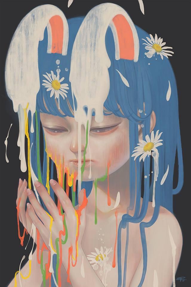 Colores diluidos en el trabajo de Pruch Sintunava