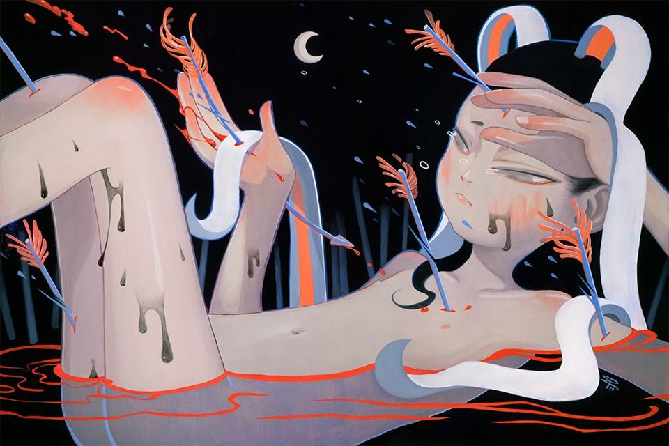 De pijn verschijnt in de illustraties van Pruch Sintunava