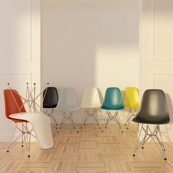 Eames stolene var laget av glassfiber, støpt plast og tre