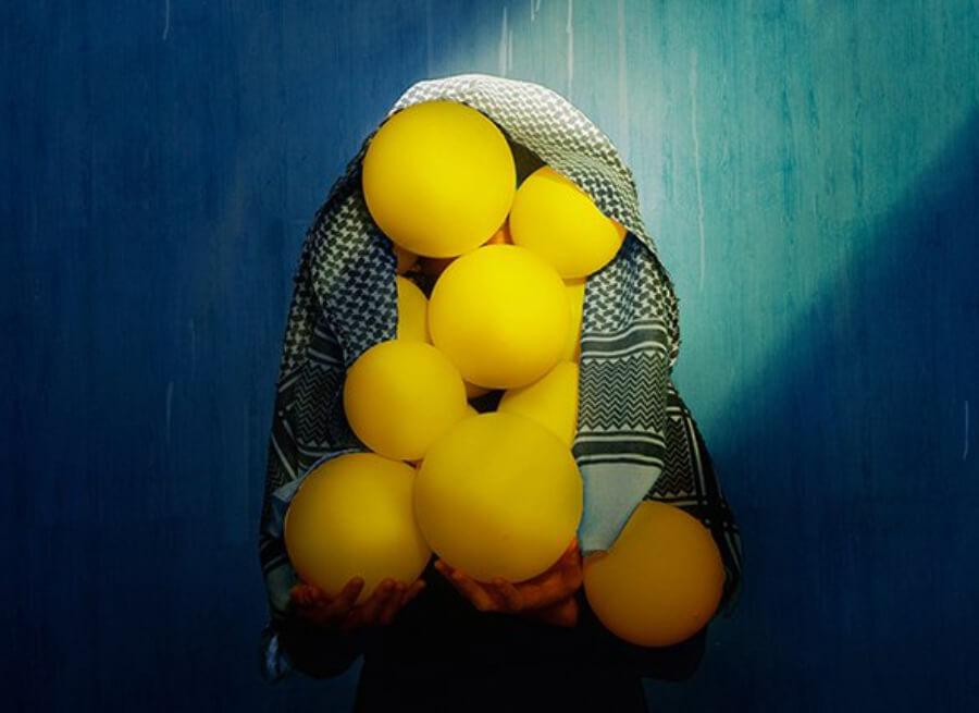 Con los colores y globos el proyecto quiere decirle a los sirios que existe la esperanza y la alegría