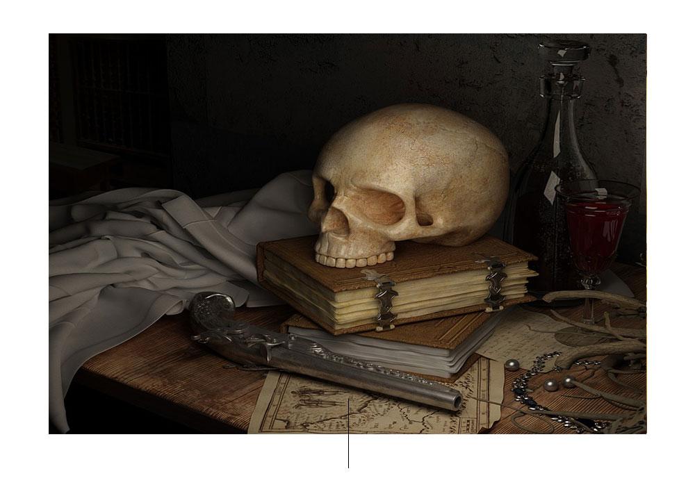 schedel over boekschildering
