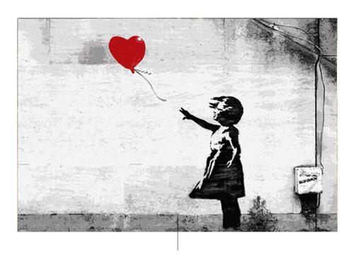 Meisje met Banksy-ballon