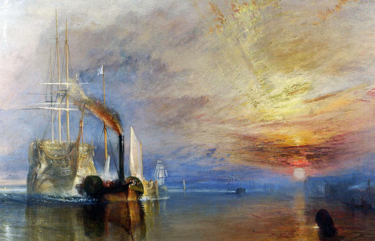 El Temerario remolcado a su último atraque para el desguace de J. M. W. Turner