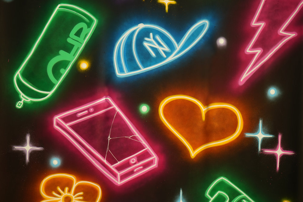 Disegni al neon di Adam Fujita