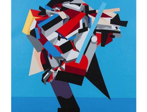 Het abstracte schilderen met geometrische vormen op blauwe Webachtergrond widewalls