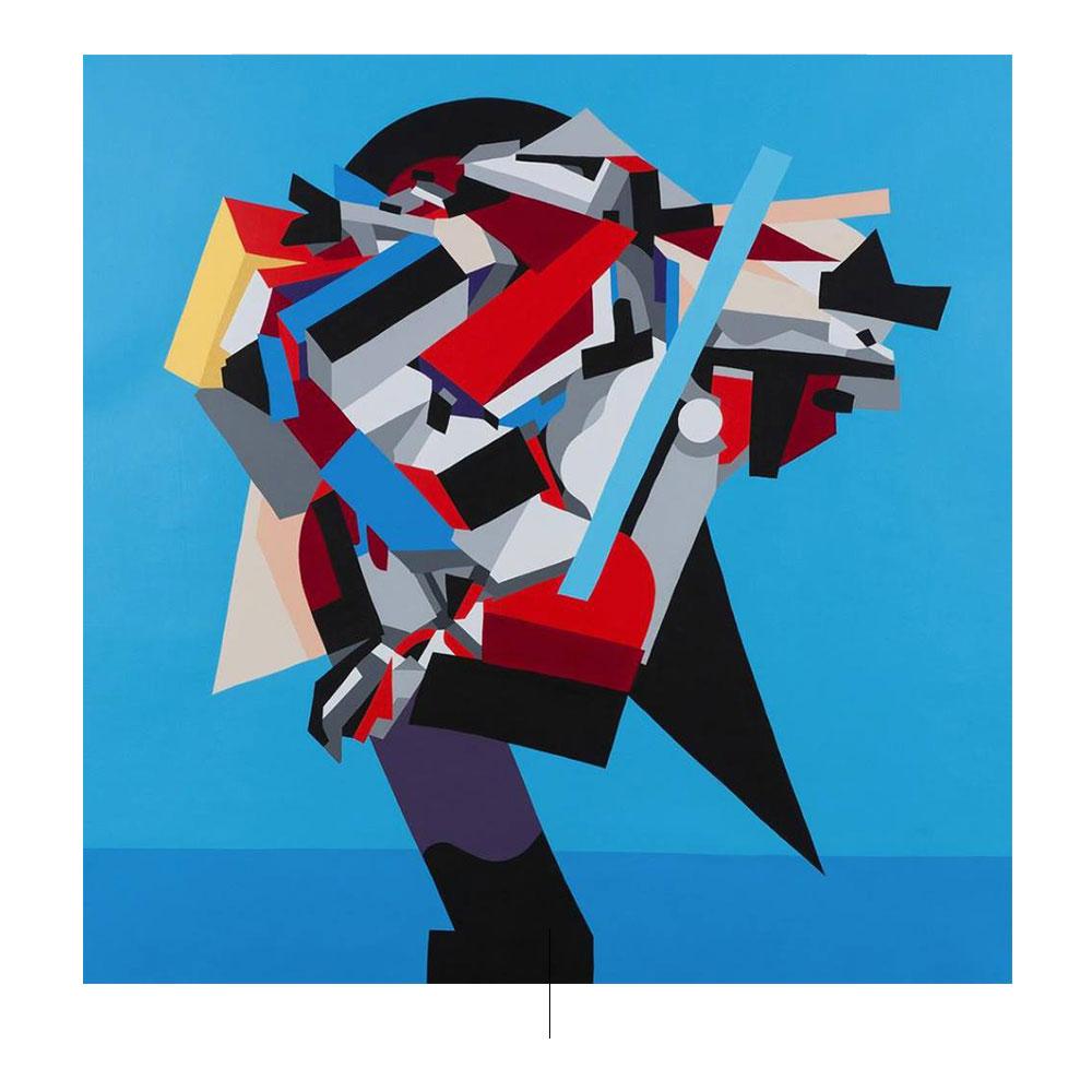 Αφηρημένη ζωγραφική με γεωμετρικά σχήματα σε μπλε φόντο ιστού. Widewalls