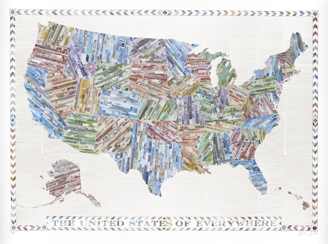Mappa degli Stati Uniti realizzata con i biglietti di Justine Smith