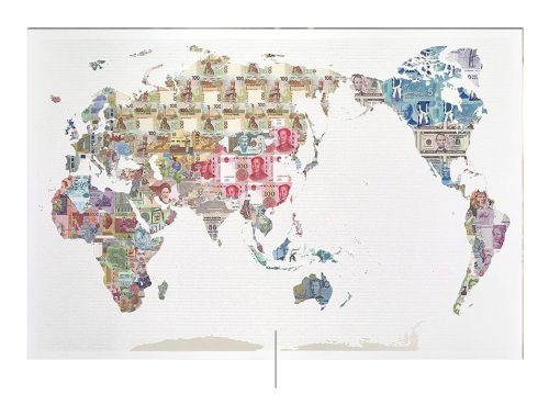 Mapa hecho con billetes de Justine Smith