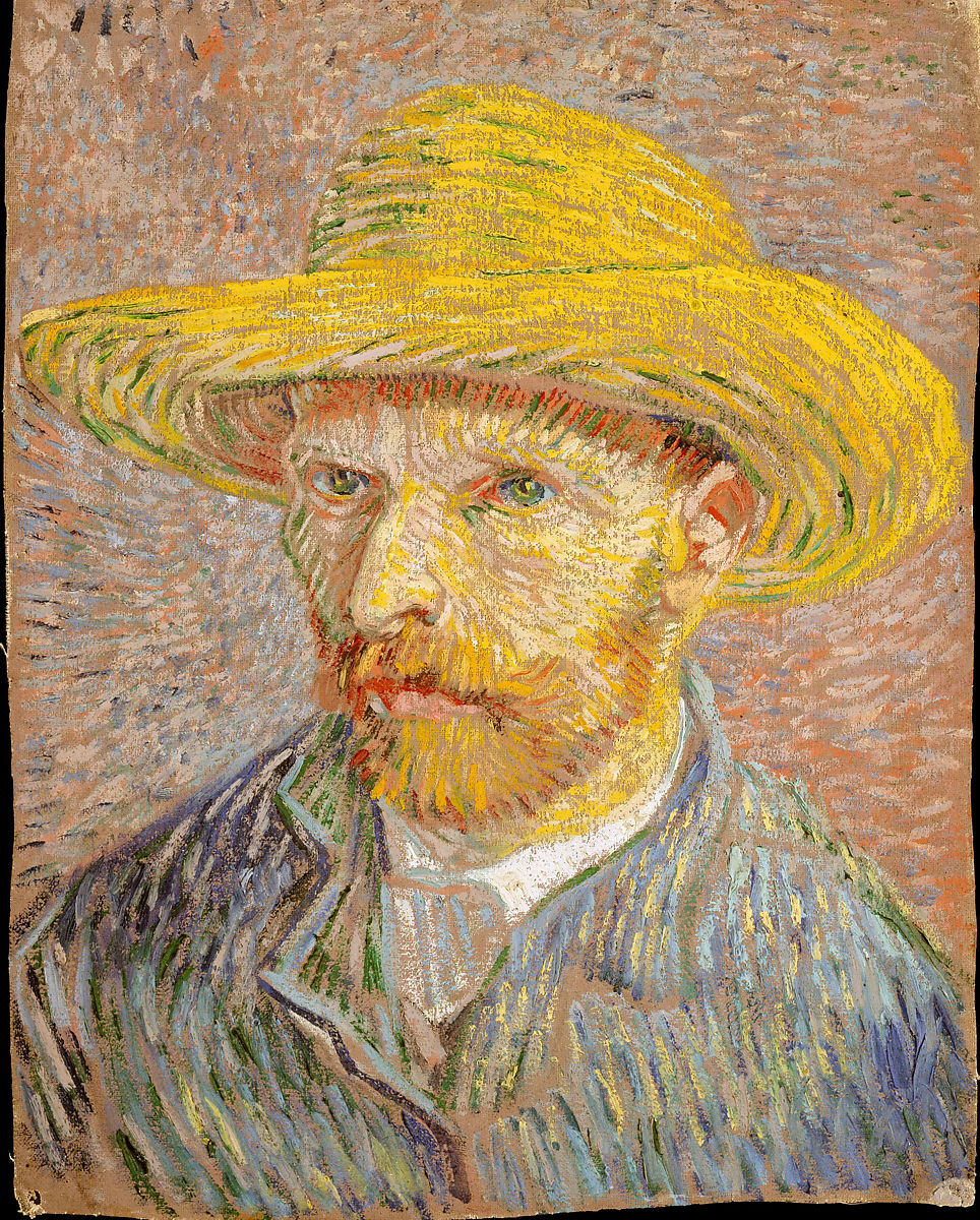 Zelfportret met strohoed van Vincent van Gogh