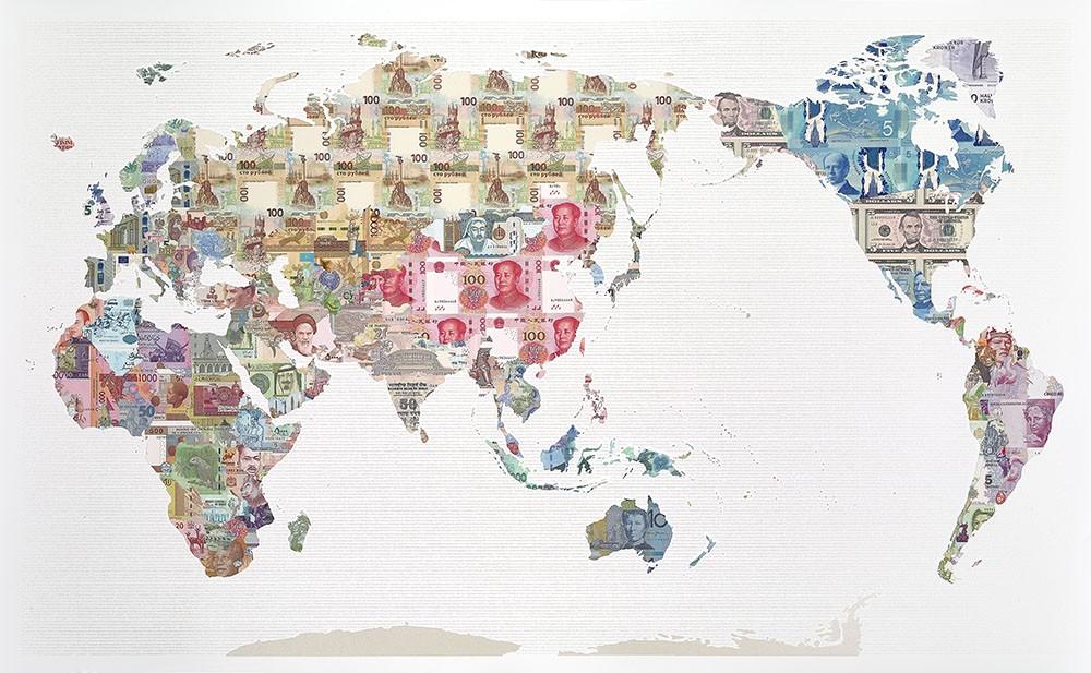 Mappa del mondo realizzata con biglietti Justine Smith