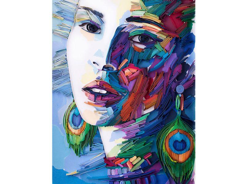 Girl with peacock earrings