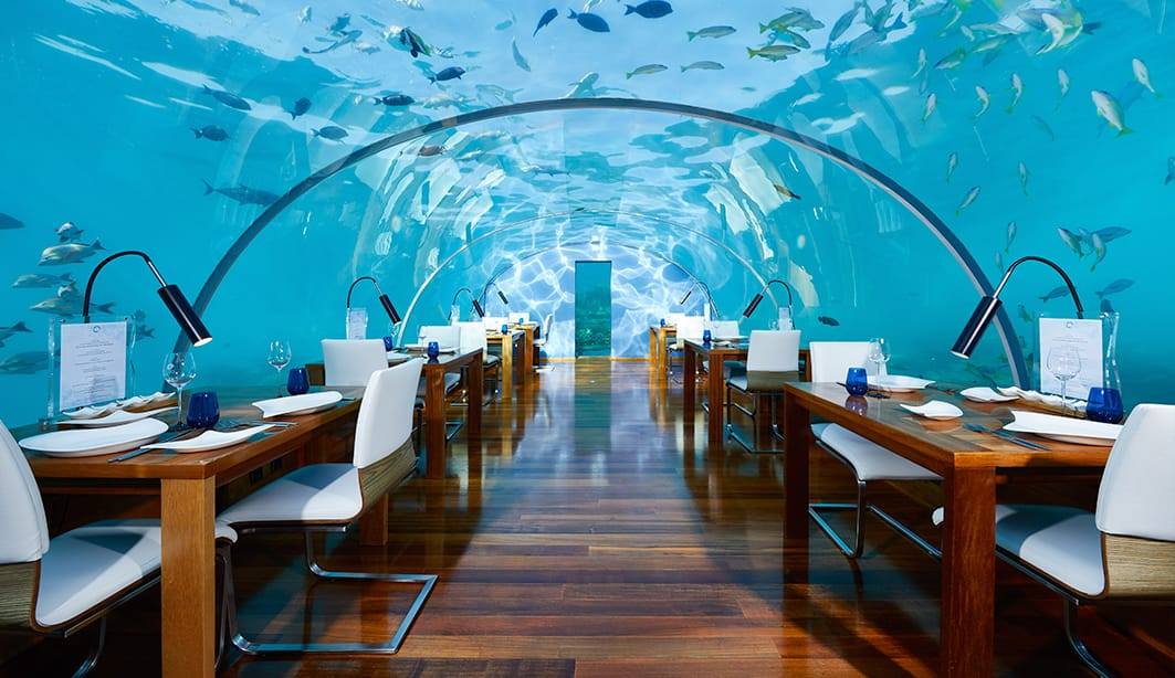 Vista del ristorante in The Muraka. Foto: Conrad Maldives