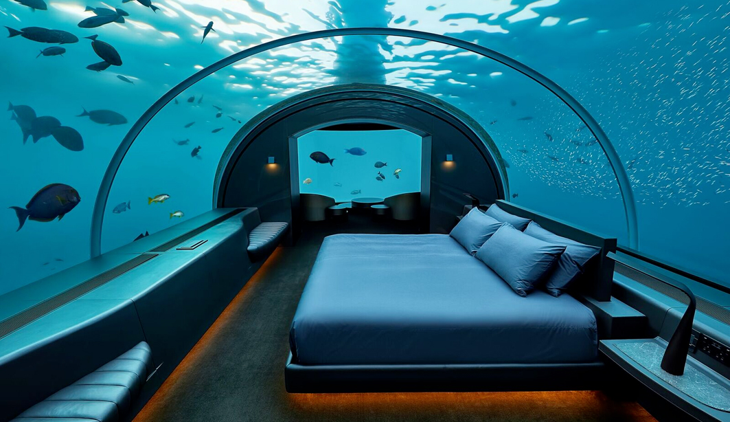 Suite di lusso con vista sull'Oceano Indiano alle Maldive. Foto: Conrad Maldives