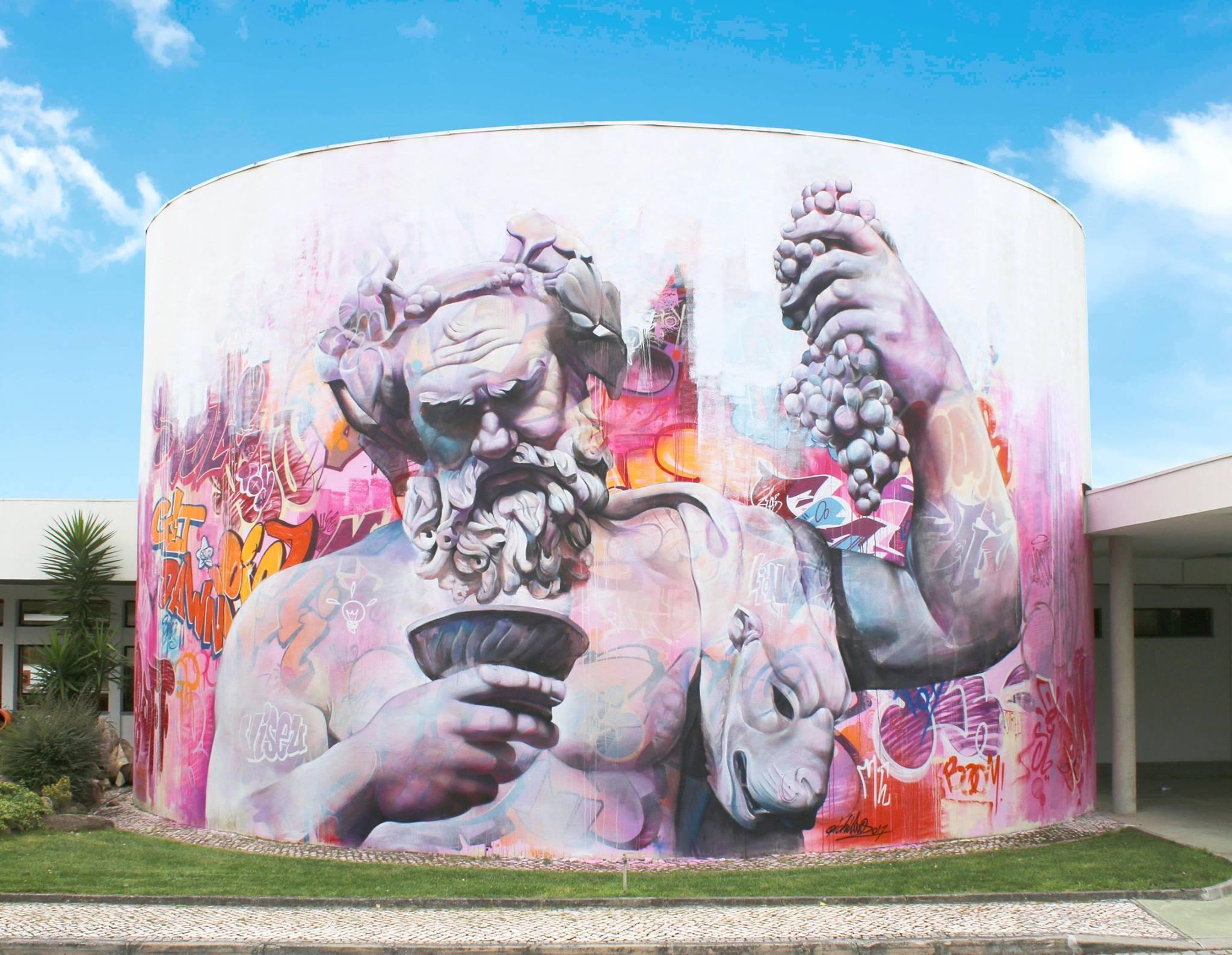 Mythologische en historische wezens in PichiAvo-graffiti. Foto: PichiAvo