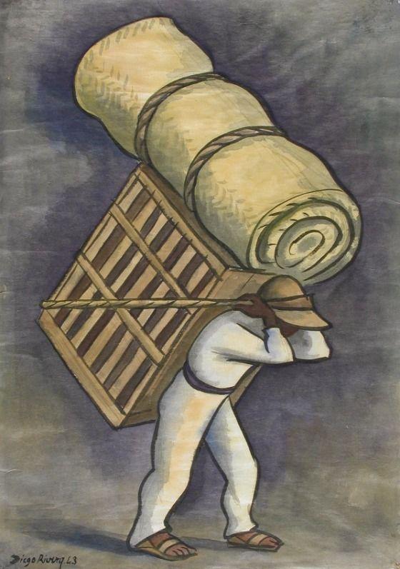 Cargador de petate de Diego Rivera. Foto de: pinterest.com