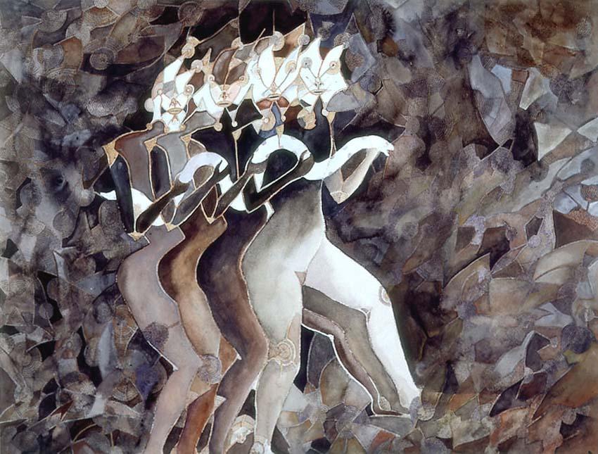 Ζωγραφική «Εισερχόμενη τη νύχτα» του Francisco Toledo (1973). Φωτογραφία: museoblaisten.com