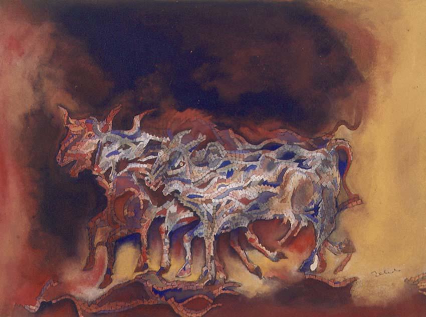 ζωγραφική «Αγελάδες και ταύροι» του Francisco Toledo (1990). Φωτογραφία: museoblaisten.com