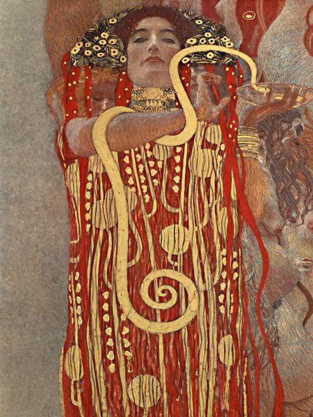 Hygieia (hija del dios griego de la medicina Asclepio) con una serpiente esculapio alrededor de su brazo.